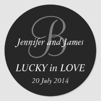 Monogram B Stickers for Weddings Black