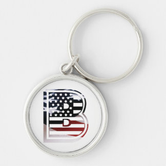 Monogram B USA Flag American Initial Keychain