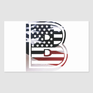 Monogram B USA Flag American Initial Rectangular Sticker