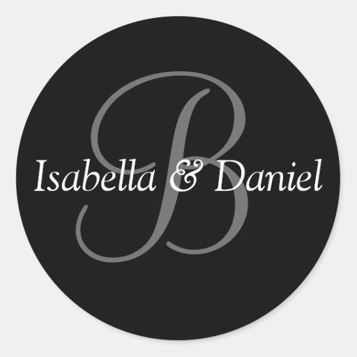 Monogram B Wedding Seal Sticker
