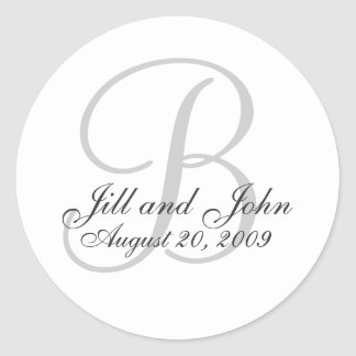Monogram B Wedding White Bride Groom Seal Sticker