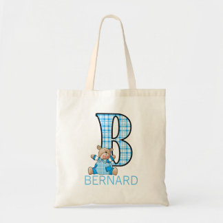 Monogram B with a Teddy Bear and Boy's Name Tote Bag
