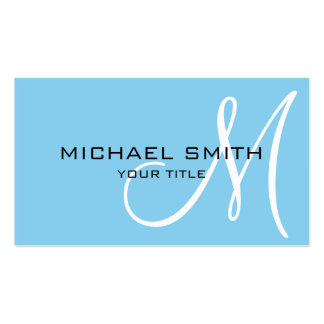 Monogram Baby blue color background Business Card