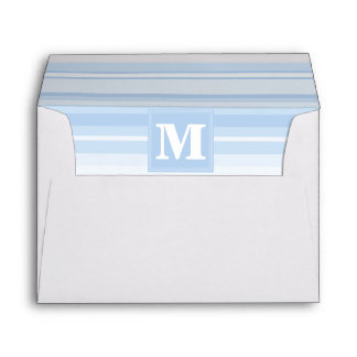 Monogram baby blue stripes envelope
