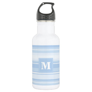 Monogram baby blue stripes water bottle