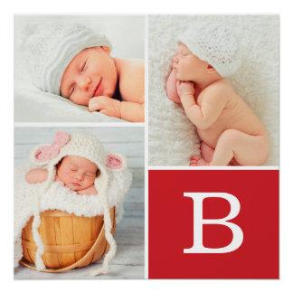 Monogram Baby Photo Collage Poster