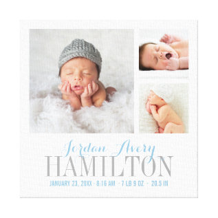Monogram Baby Photo Collage Wrapped Canvas Print at Zazzle