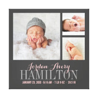 Monogram Baby Photo Collage Wrapped Canvas Print