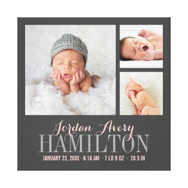 Toddler & Baby themed Monogram Baby Photo Collage Wrapped Canvas Print