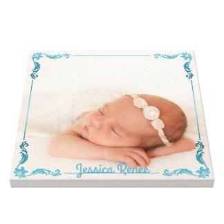 Monogram Baby Photo Custom Personalized Turquoise Canvas Print