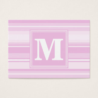 Monogram baby pink stripes business card