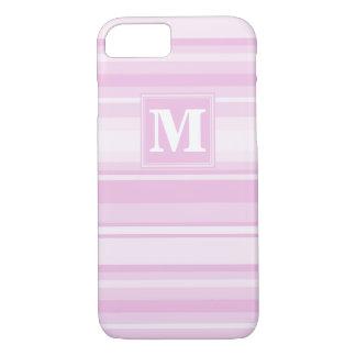 Monogram baby pink stripes iPhone 8/7 case