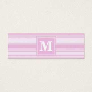 Monogram baby pink stripes mini business card