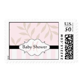 Monogram Baby Shower Postage Stamps Pink