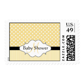 Monogram Baby Shower Postage Stamps Yellow