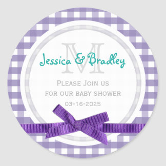 Monogram Baby Shower Purple White Gingham Stickers
