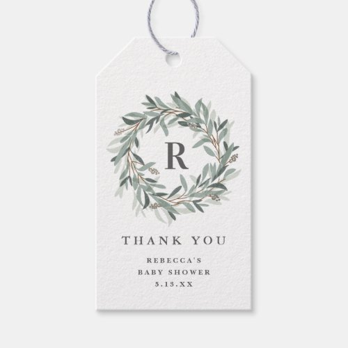 Monogram baby shower thank you gift tag