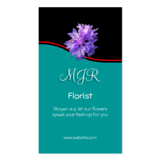 Monogram, Bachelors Button Florist, red swoosh Business Card