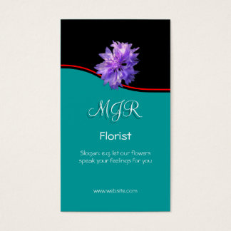 Monogram, Bachelors Button Florist, red swoosh Business Card