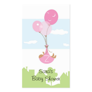 Monogram Ballon Baby Shower Party Favor Tag Double-Sided Standard Business Cards (Pack Of 100)