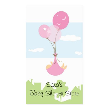 Balloons Carrying Baby in the Sky Baby Shower Store Business Cards