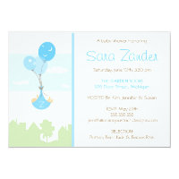 Monogram Balloon Baby Shower Invitation - Boy