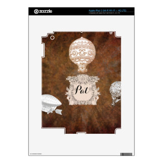 MONOGRAM BALLOONS ON BROWN BACKGROUND iPad 3 DECAL