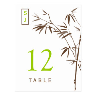 Monogram Bamboo Table Number Card | Brown & Green