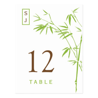 Monogram Bamboo Table Number Card | Green & Brown