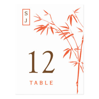 Monogram Bamboo Table Number Card | Orange & Brown