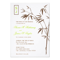 Monogram Bamboo Wedding Invitations  |  Brown