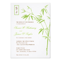 Monogram Bamboo Wedding Invitations  |  Green