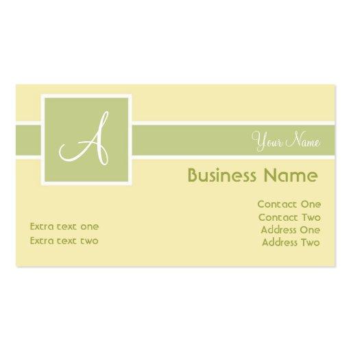 Monogram Band Tea & Cream Business Cards