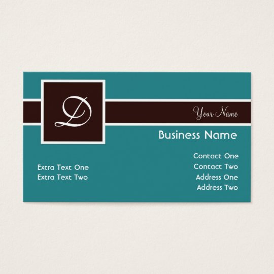 Monogram Band Teal & Chocolate Business Cards
