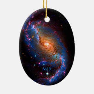 Monogram Barred Spiral Galaxy NGC 1672 Double-Sided Oval Ceramic Christmas Ornament