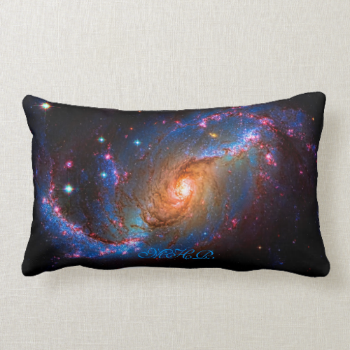 Monogram Barred Spiral Galaxy NGC 1672 Throw Pillows