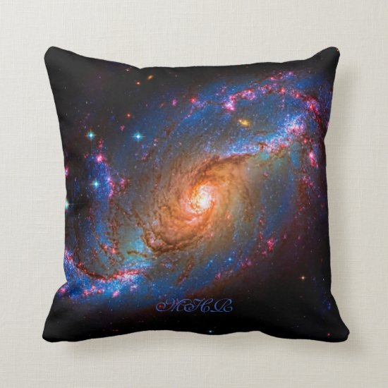 Monogram Barred Spiral Galaxy NGC 1672 Throw Pillow