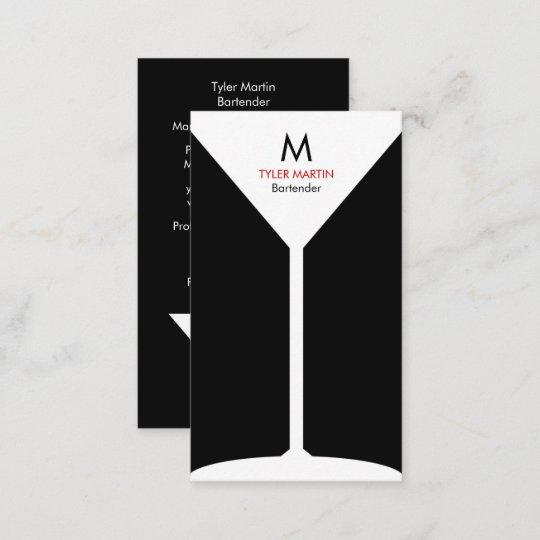 Monogram Bartending Business Card Black White Zazzle