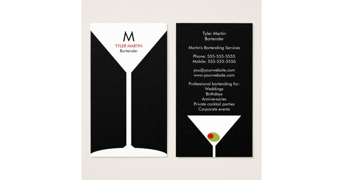 Bartender Business Cards & Templates | Zazzle