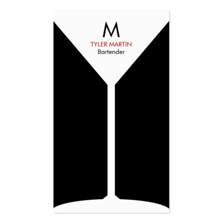 Cool Black and White Monogram Martini Glass Freelance Bartender Business Cards