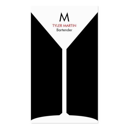 Cool Black and White Monogram Martini Glass Freelance Bartender Business Cards