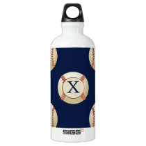 Monogram Baseball Balls Sports pattern Aluminum Water Bottle