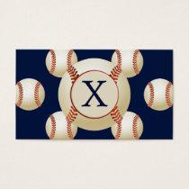 Monogram Baseball Balls Sports pattern Business Card
