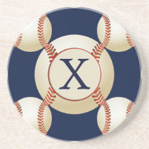 Monogram Baseball Balls Sports pattern Drink Coaster