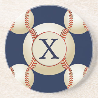 Monogram Baseball Balls Sports pattern Drink Coaster