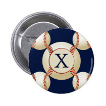 Monogram Baseball Balls Sports pattern Pinback Button