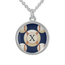 Monogram Baseball Balls Sports pattern Sterling Silver Necklace