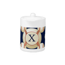 Monogram Baseball Balls Sports pattern Teapot