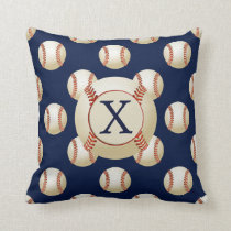 Monogram Baseball Balls Sports pattern Throw Pillow