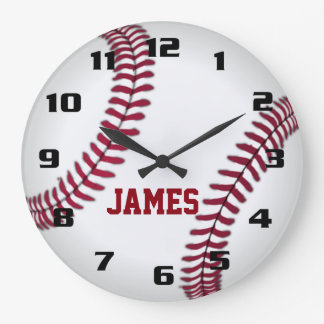 Monogram Baseball Large Clock